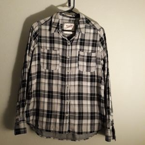Black and grey plaid button down